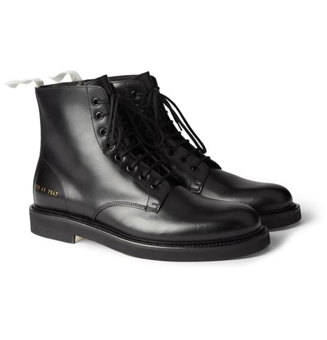 by common projects boots lyst common projects leather combat boots in black for