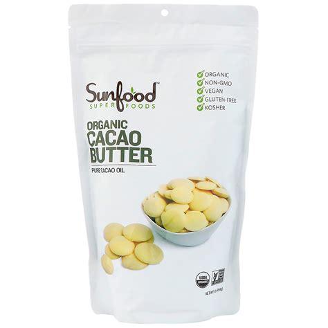 Cacao Butter 225 Gram sunfood organic cacao butter 1 lb 454 g iherb