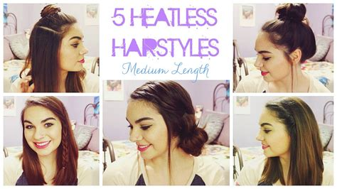 Heatless Hairstyles Shoulder Length Hair | 5 heatless hairstyles for summer medium length hair