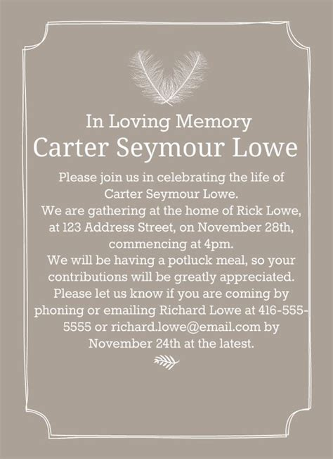 invitation letter to burial ceremony 39 best funeral reception invitations lives on