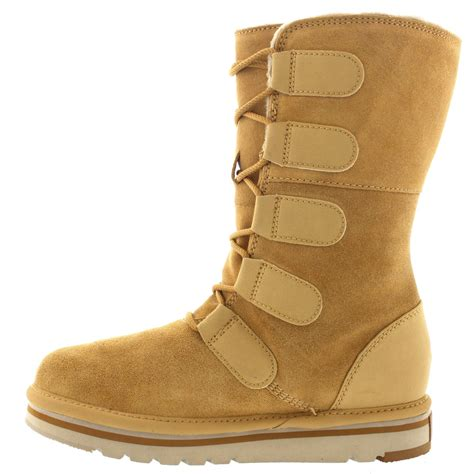 womens sorel the newbie lace suede fur lined winter