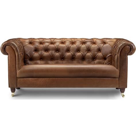 bamford chesterfield leather 3 seater sofa next day