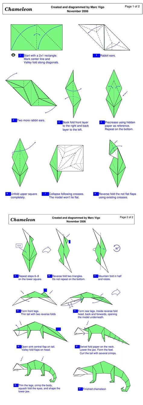 Origami Lizard Diagram - origami chameleon folding diagram pattern