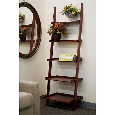 cherry 5 tier leaning ladder book shelf 149 95