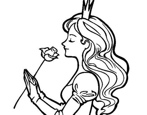 imagenes de rosas para una princesa dibujo de princesa y rosa para colorear dibujos net