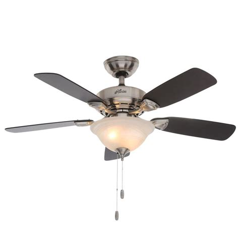 44 ceiling fan with light hunter caraway 44 in indoor brushed nickel ceiling fan