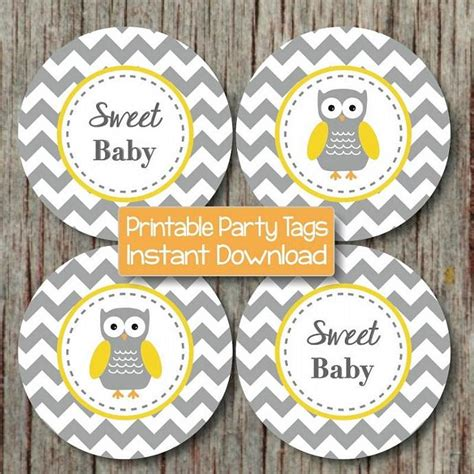 Yellow And Grey Owl Baby Shower by Cupcake Toppers Baby Shower Yellow Bumpandbeyonddesigns