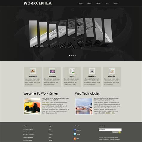 Free Template 355 Work Center Copyright Free Website Templates