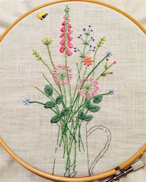 embroidered garden flowers botanical motifs for needle and thread make crafts books 17 best images about painting with the needle on