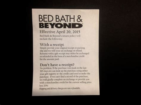 bed bath and beyond return policy no receipt how bed bath beyond will punish customers making returns