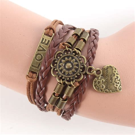 Gelang Vintage Friendship Charm Leather Bracelet Bangle infinity flower friendship antique copper leather charm bracelet gift ebay