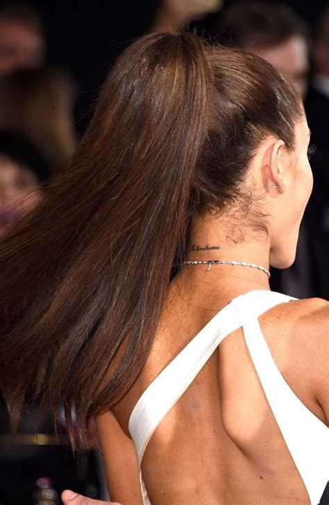 ariana grande neck tattoo grande at the 2015 grammys grande