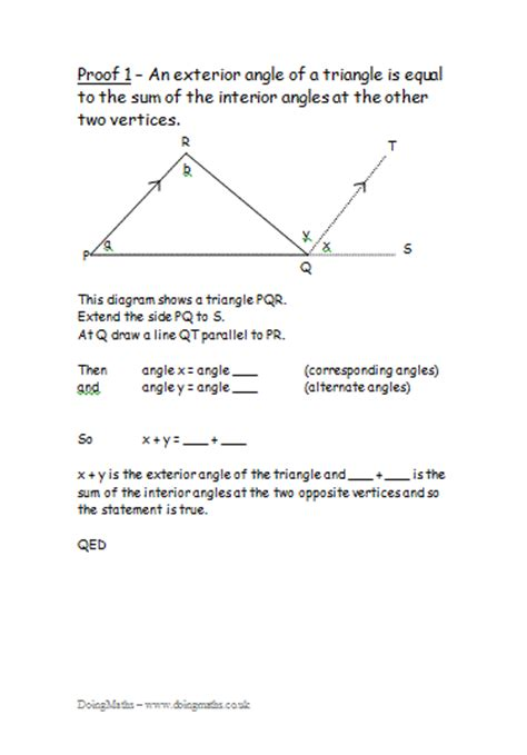 Simple Geometry Proofs Worksheets by Proof Free Maths Worksheets Powerpoints And Other