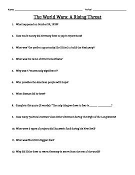 The World Wars A Rising Threat Worksheet Answers the world wars a rising threat guide and answer key