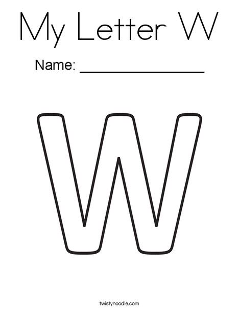 block letter w my letter w coloring page twisty noodle
