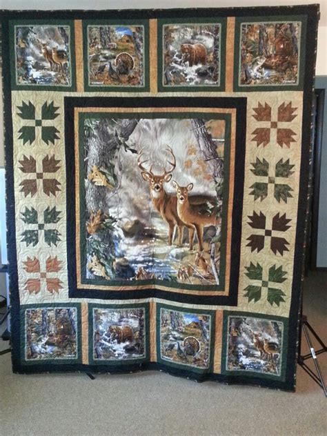 Wildlife Quilt Patterns Free by Panel With Smaller Blocks Frame Simply And Add Block