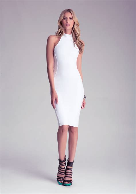 Dress Bebe Midi 1 bebe mock neck midi dress in white lyst