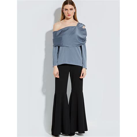 Azeanita Plain Longsleeve Blouse fashion one shoulder plain sleeve blouse top n14255