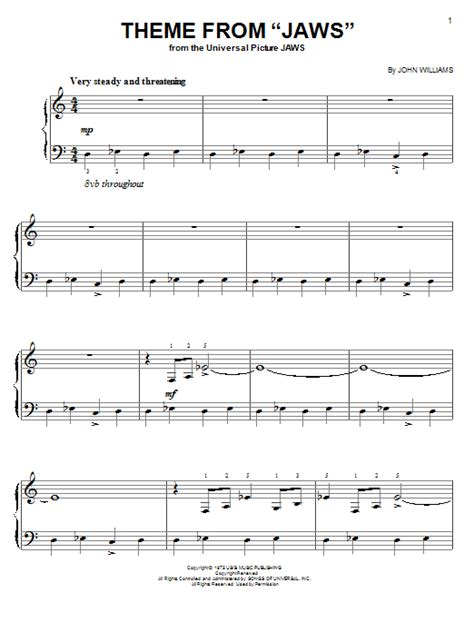 theme songs on keyboard theme from quot jaws quot sheet music by john williams easy piano