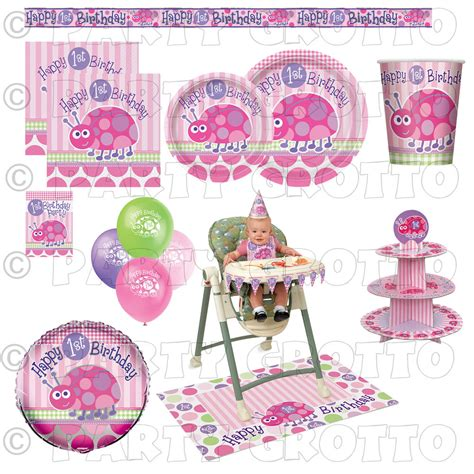 first birthday themes uk 1st first birthday baby girl party supplies ladybug