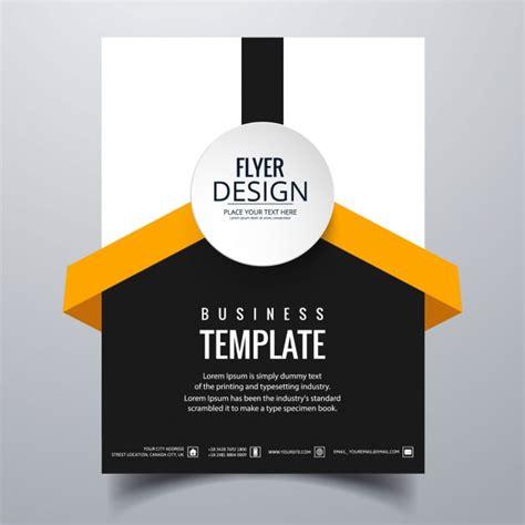 flyer design name white black and orange geometric brochure vector free