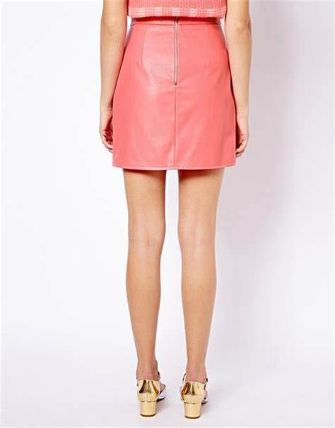 ganni river island leather look mini skirt in pink lyst