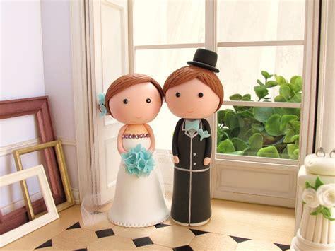 cute bride groom wedding cake topper   OneWed.com