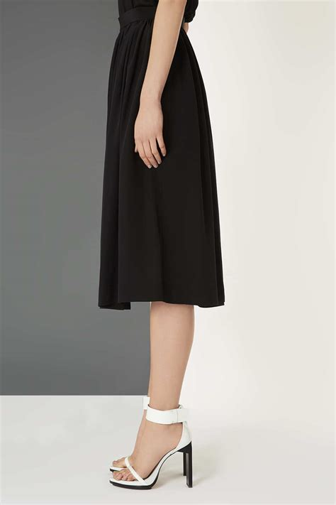 topshop silk midi skirt by boutique in black lyst
