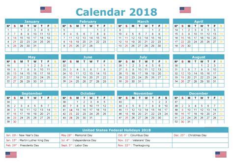 2018 Calendar United States 2018 Calendar With Holidays United States Calendar 2018