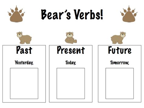 verb pattern bear all worksheets 187 present past future worksheets