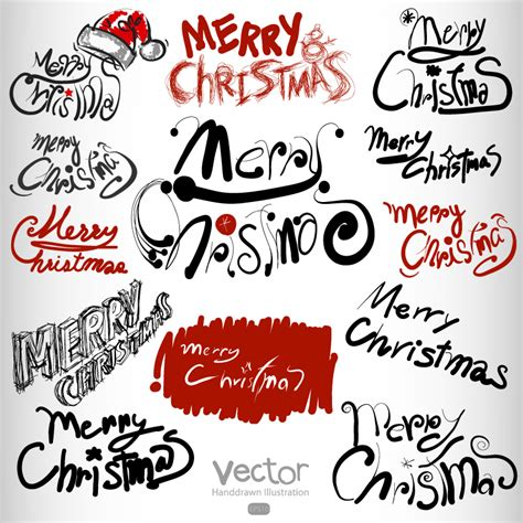 vectorial design font merry christmas personality font design vector free