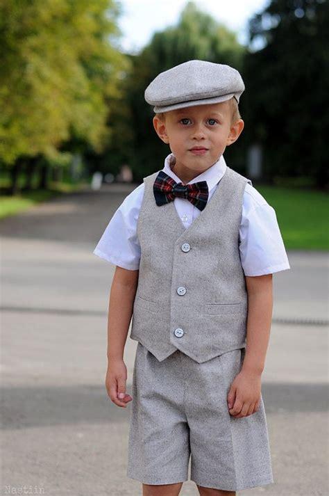 C Kid Toxedo boy formal wear set vest flat cap ring bearer school boy dress up toddler