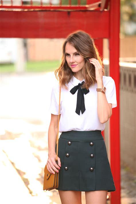 Nosh Korean Style V Neck Blouse Bow Tie Clara tie neck blouse with skirt 187 shikshin