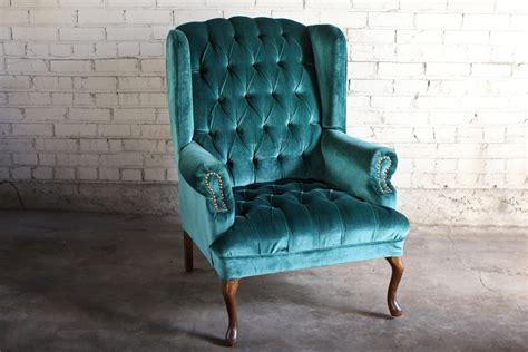 teal velvet armchair teal green velvet tufted wingback chair