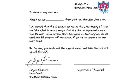Invitation Letter German Embassy Usa Coach Provides Get Out Of Work Note For Germany Match Human Resources