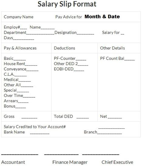 11 sample of salary pay slip simple salary slip