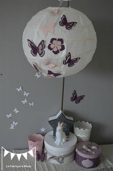 suspension chambre fille luminaire suspension abat jour papillons fleurs violet
