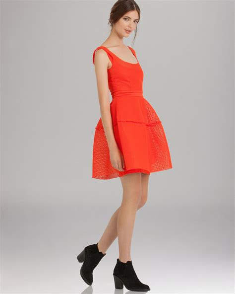 Maje Dress lyst maje dress mesh overlay in orange