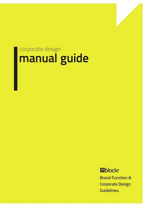 manual cover template corporate design manual guide texts corporate design