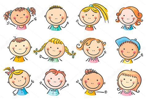 imagenes niños kinder feliz de dibujos animados para ni 241 os caras vector de