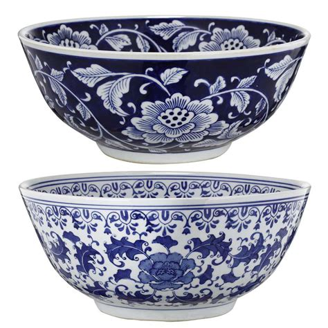 decorative bowls white a b home 16 in x 7 in blue and white decorative bowls