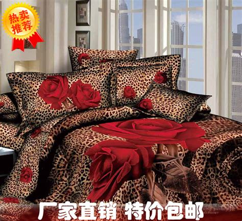 aliexpress com buy 3d red rose leopard print bedding