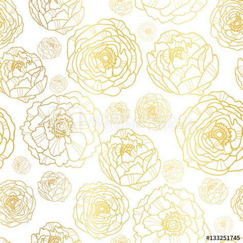 Wallpaper European Fashion Beautiful White Peony Wa wedding gold flowers background design style by modernstork