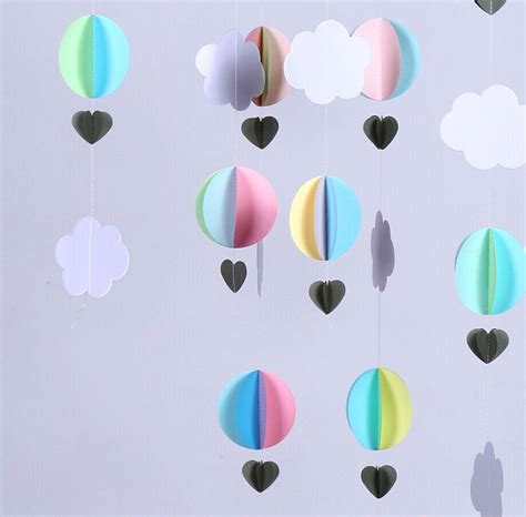 Stringdecoration Mobile Balloon Miniature Papercraft aliexpress buy 15 feets 3d paper air balloons baby shower decor crib mobile clouds and