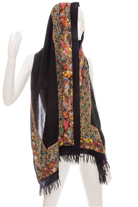 beaded scarf dries noten wool silk sequin and beaded embellished