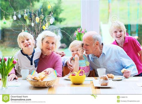Pastry Kitchen Design Family Enjoying Easter Breakfast Stock Photo Image 51806170