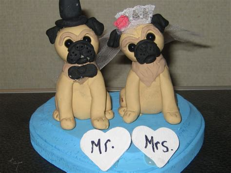 pug wedding cake custom made pug wedding cake toppers and groom pug dogs wedding polymer