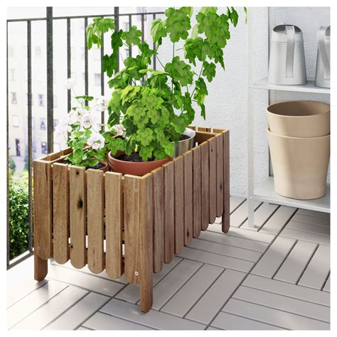 railing planters ikea askholmen flower box grey brown stained ikea