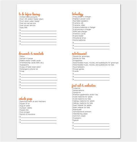 vacation checklist template vacation packing list template 21 checklists for word