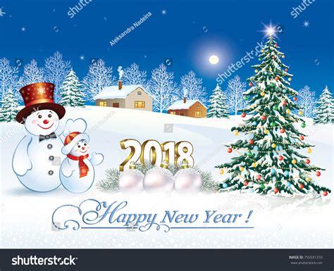 postcard happy  year  snowman stock vector  shutterstock